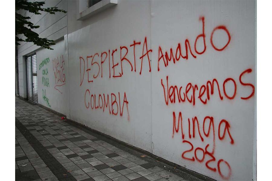 Personas ajenas a la minga habrían  rayado paredes del centro de Armenia