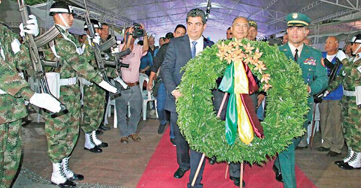 Con ofrenda floral, gobernadores rindieron homenaje al Quindío