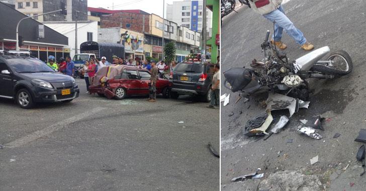 Accidente de tránsito en la calle 23 con carrera 19 dejó un motociclista herido