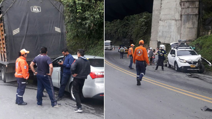 Colisión múltiple en vía La Línea dejó tres personas lesionadas