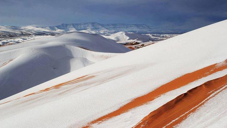 ¡Increíble! cayó nieve en el desierto del Sáhara