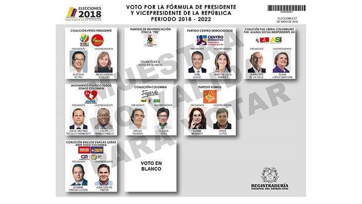¿Cómo votar? Conozca el tarjetón electoral para sufragar este domingo
