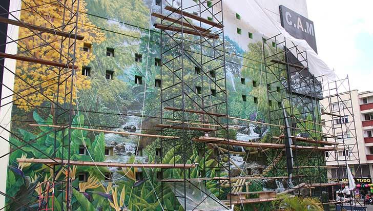 Mural para resaltar la cultura cafetera en el CAM está en un 85%