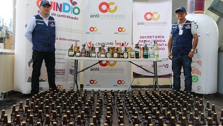 268 botellas de licor de contrabando, incautadas por las autoridades quindianas