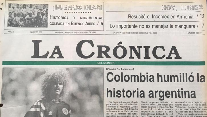Un día como hoy, hace 25 años, Colombia logró un inolvidable triunfo 5-0 en Buenos Aires