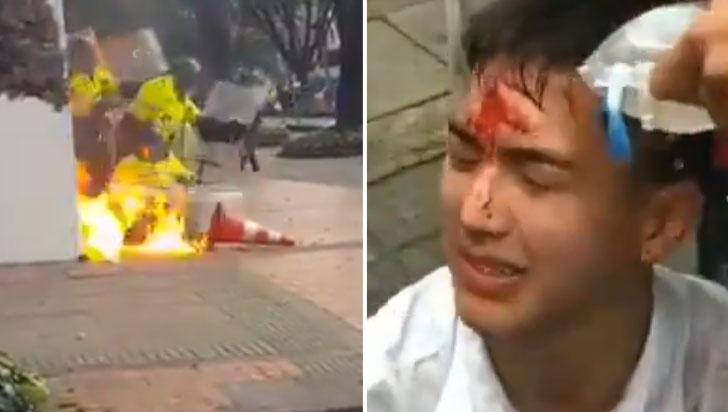 Graves hechos de violencia se presentaron en marchas estudiantiles en Bogotá y Popayán