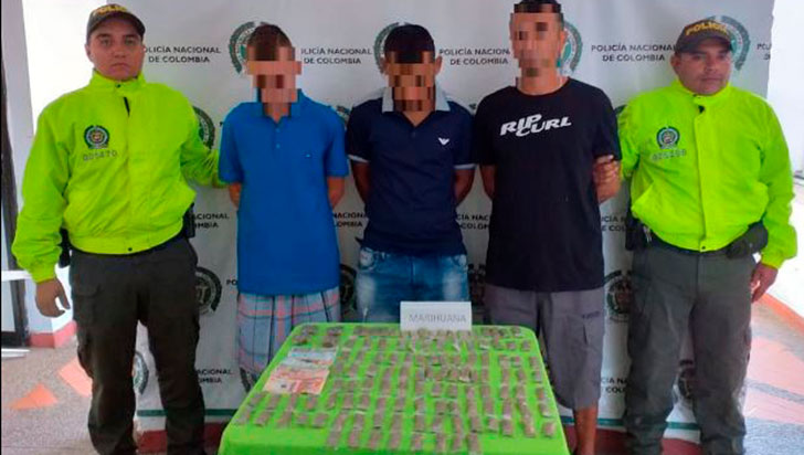 3 hombres capturados con estupefacientes