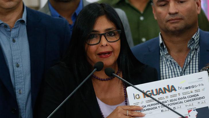 """""""Ayuda de Estados Unidos viene contaminada y es cancerígena"""": vicepresidenta de Venezuela"""
