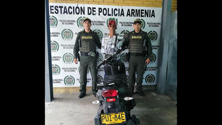 Hombre fue detenido en Calarcá por tener una moto robada