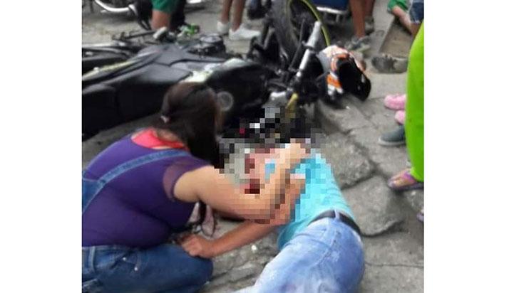 Dos motociclistas quedaron lesionados al chocar en Calarcá