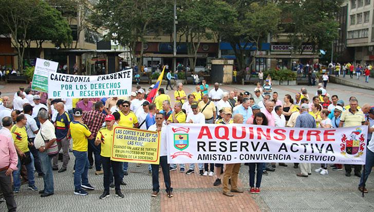 Reserva activa protestó este miércoles para defender sus derechos