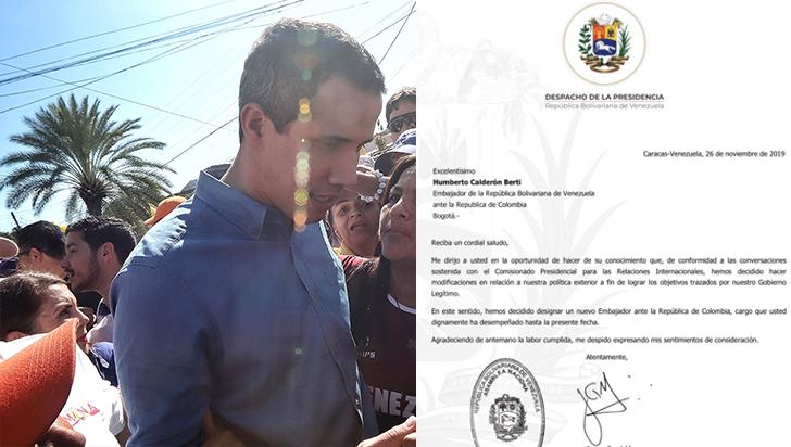 Guaidó destituye a su embajador en Colombia por cambios en política exterior