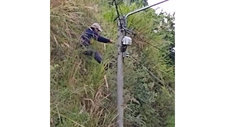 Hombre sorprendido robando cable de un poste de Armenia