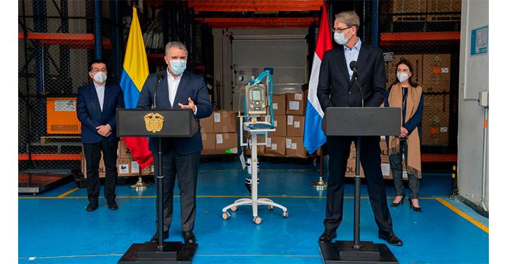 Gobierno de los Países Bajos entrega a Colombia 30 respiradores para COVID-19