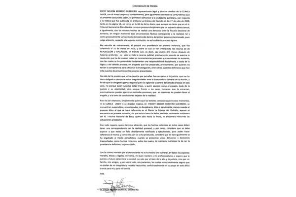 """En comunicado, médico Borrero informó que """"no está sancionado"""""""