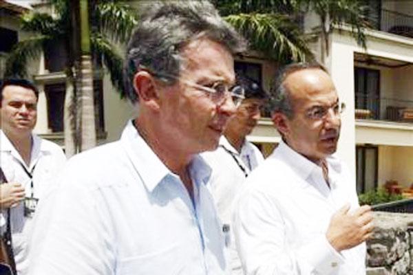 Calderón y Uribe analizarán la lucha contra el narcotráfico y el terrorismo