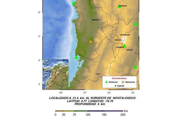 Temblor de 4.5 grados Richter en el centro-occidente del país