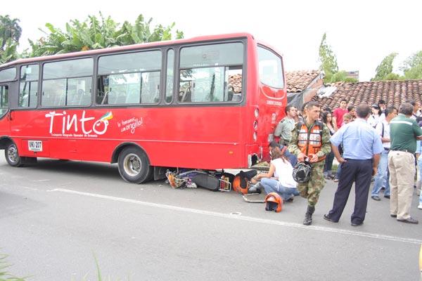 Herida motociclista en accidente
