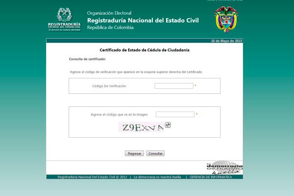 proceso en www registraduria gov co en lo corrido de 2013 un total de