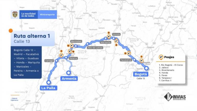 Temporada de lluvias complica movilidad en la vía La Línea