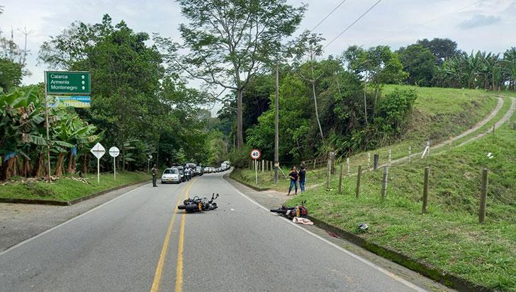 Siniestro vial entre Montenegro  y Quimbaya dejó 2 lesionados