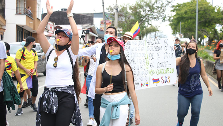 Jóvenes de Circasia dijeron presente en el noveno día del paro nacional