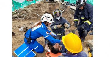 2 obreros fueron rescatados de alud de tierra en el norte de Armenia