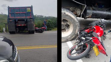 Motociclista sobrevivió a aparatoso accidente con una volqueta