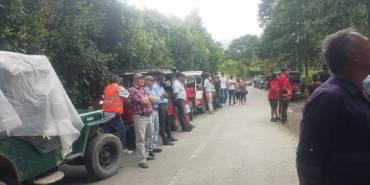 Yiperos de Calarcá protestan por nueva ruta de bus